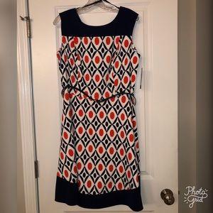 New Orange/Blue/White Zippered Dress w/ Belt